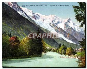 Old Postcard The Arve Chamonix and Mont Blanc