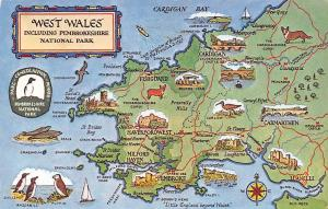 Map of West Wales, including Pembrokeshire National Park, Cardigan Bay