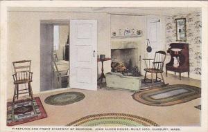 Fireplace and Front Stairway Of Bedroom John Alden House Built 1653 Duxbury M...