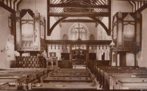 Organ & Interior of Send Church Surrey Antique Old Real Photo Postcard