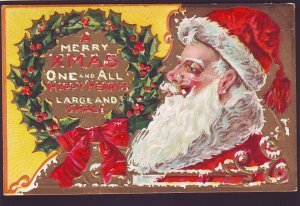 P1531 1910 used postcard a large santa clause with pipe merry christmas