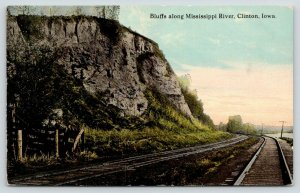 Clinton Iowa~Bluffs Along Mississippi River~Double Railroad Tracks~Fence~1909