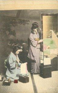 c1910 Painting Screen Panels Woman ethnic dress Postcard Japan Hand Colored 7803
