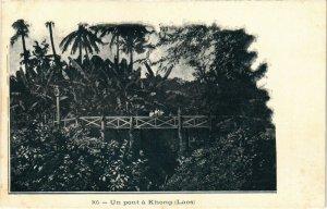 PC CPA LAOS, INDOCHINA, UN PONT Á KHONG, Vintage Postcard (b20900)