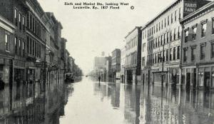 KY - Louisville. 1937 Flood. Sixth & Market Streets looking west