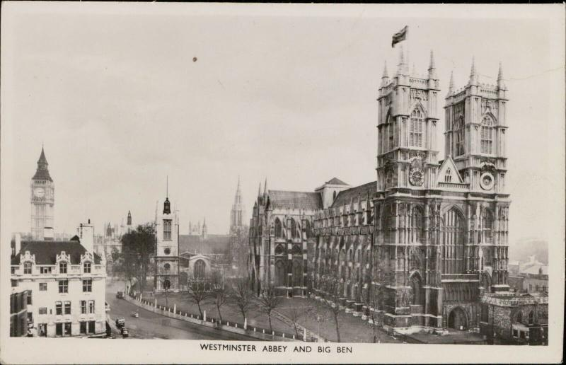 Westminster Abbey Big Ben London Tuck real photograph