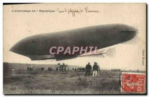Old Postcard Jet Aviation Zeppelin airship landing of the Republic