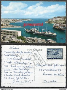 dc3156 - MALTA 1961 Marsamxett Harbour. Cargo Ship. Mailed from Greece to Canada