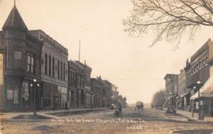 Toldedo Iowa High Street from Church Real Photo Antique Postcard J62676