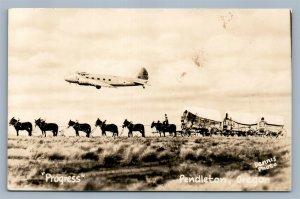 PENDLETON OR PROGRESS ANTIQUE REAL PHOTO POSTCARD RPPC airplane montage collage