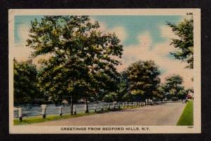 NY Greetings from BEDFORD HILLS NEW YORK Postcard Linen
