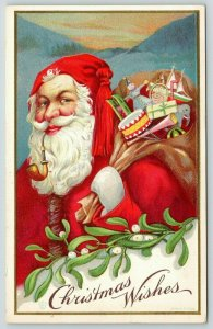 James E Pitts Christmas~Santa Smokes Pipe~Tassel Hat~Toys~Mistletoe~Stecher 61 D