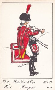 Baden Guard Du Corps French Trumpeter Soldier Napoleonic War Uniform Postcard