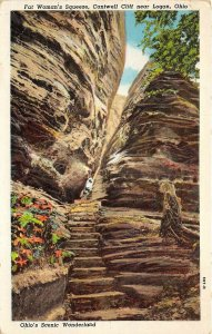 Logan Ohio 1951 Postcard Fat Woman's Squeeze Cantwell Cliff