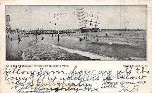 Amusement Park Postcard Post Card Wrecked Saranac, Tilyou's Steeplechase...