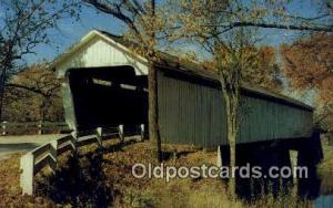 Darlington, IN USA Covered Bridge Postcard Post Card Old Vintage Antique  Dar...
