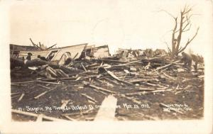 Plattsmouth Nebraska Tornado District Damage Real Photo Antique Postcard K26184