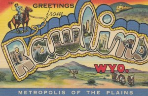 Large Letter RAWLINS Wyoming , 30-40s