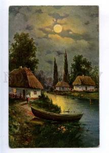 224453 RUSSIA KAPUSTIN Ukraine moonlit night #1884 postcard