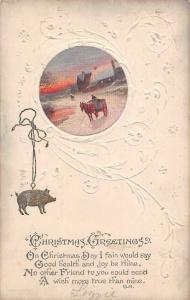 Embossed: Christmas Greetings! Pig Medallion, Carriage, Winter