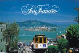 California San Francisco Cable Car #5 On Hyde Street Hill With Alcatraz In Ba...