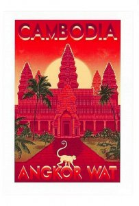 Vintage Reproduction Travel Poster Postcard, Cambodia, Angkor Wat GR8