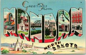 MANDAN North Dakota Large Letter Postcard Indian Tepees Linen / 1946 Cancel