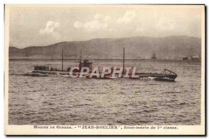 Old Postcard warship Jean Roulier 1st Class Submarine
