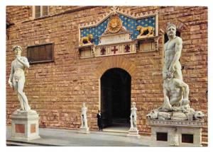 Italy Firenze Florence Signoria Square Palazzo Vecchio Sculpture 4X6 Postcard