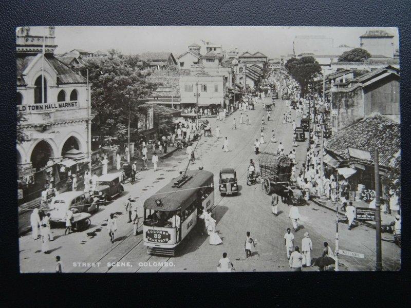 Ceylon COLOMBO Street Scene & Old Town Hall Market c1950s RP Postcard by G. Koch