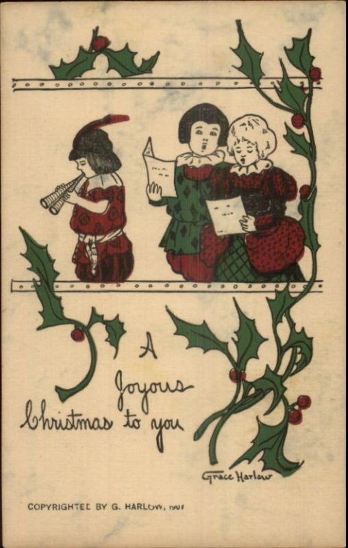 Christmas - Kids Sing Caroles GRACE HARLOW c1910 Postcard