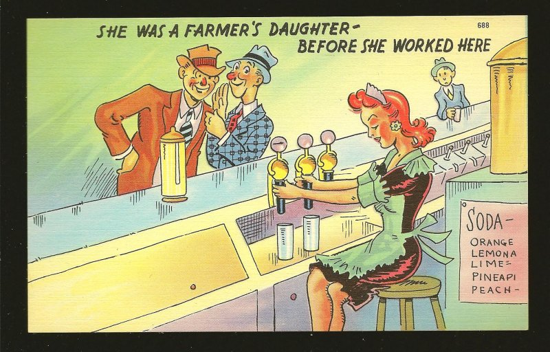She Was A Farmers Daughter 688 Postage Stamp Macine Co NYC Linen Postcard