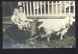 RPPC OKEMAH OKLAHOMA ARCHIES CHILDREN SHEEP DRAWN CART REAL PHOTO POSTCARD