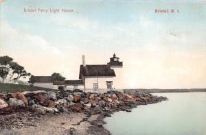BRISTOL RHODE ISLAND FERRY LIGHT HOUSE LIGHTHOUSE~POLYCHROME POSTCARD c1910s