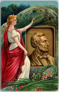 1910s Patriotic ABRAHAM LINCOLN Postcard Angel Laying Wreath at Grave UNUSED