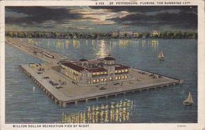 ST. PETERSBURG, Florida, PU-1927; Million Dollar Recreation Pier By Night