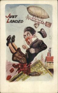 HH Tammen Comic Man Dropped From Airship Balloon c1910 Postcard rpx
