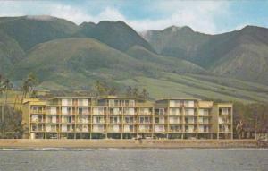Ocean front view of the Lahaina Roads Apartments, Lahaina, Maui, Hawaii, 40-60s