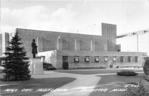 Rochester Minnesota~Mayo Civic Auditorium~Statue in Front~1947 Real Photo PC
