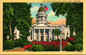 Fresno CA County Court House Red Flowers Postcard unused 12167