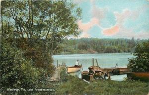 Winthrop Maine~Man in Rowboat~Docked Lake Annabessacook~1910 Postcard