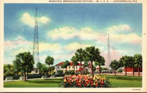 Florida Jacksonville Municipal Broadcasting Station W J A X Curteich