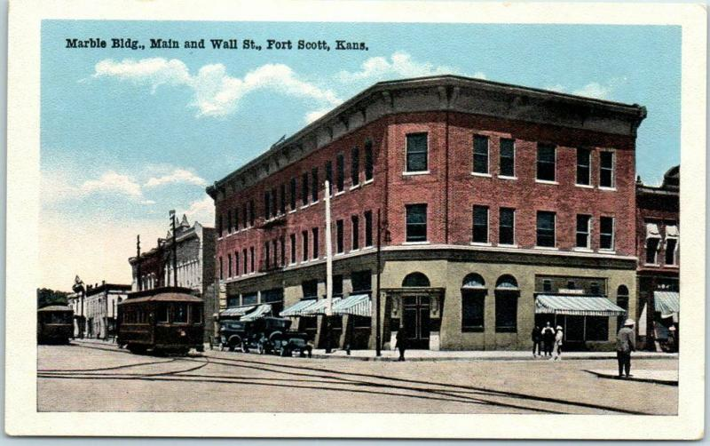 Fort Scott, Kansas Postcard MARBLE BUILDING Main & Wall Street w/ Trolley c1930s