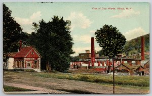 Alfred New York~Clay Tile Roof on Bldg @ Clay Works Factory c1906 UDB Postcard