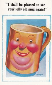 Drunk Whisky Red Nose Face On Coffee Mug Seaside Comic Humour Postcard