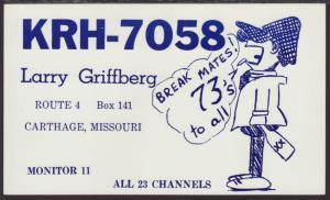 KRH-7058 Griffberg Carthage,MO QSL Card