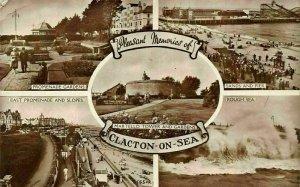 Clacton on Sea martello Tower Promenade Gardens Rough Sea Pier Postcard