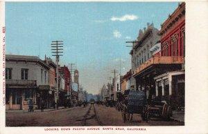 Looking Down Pacific Ave., Santa Cruz, California, Early Postcard, Unused