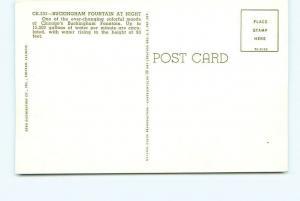 Postcard Buckingham Fountain at Night Chicago Illinois 15000 Gallon Mi  # 3226A