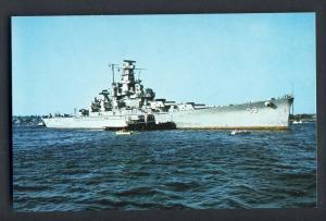 Arrival Of Big Mamie Battleship Postcard, Fall River,Mass/MA/Massachusetts